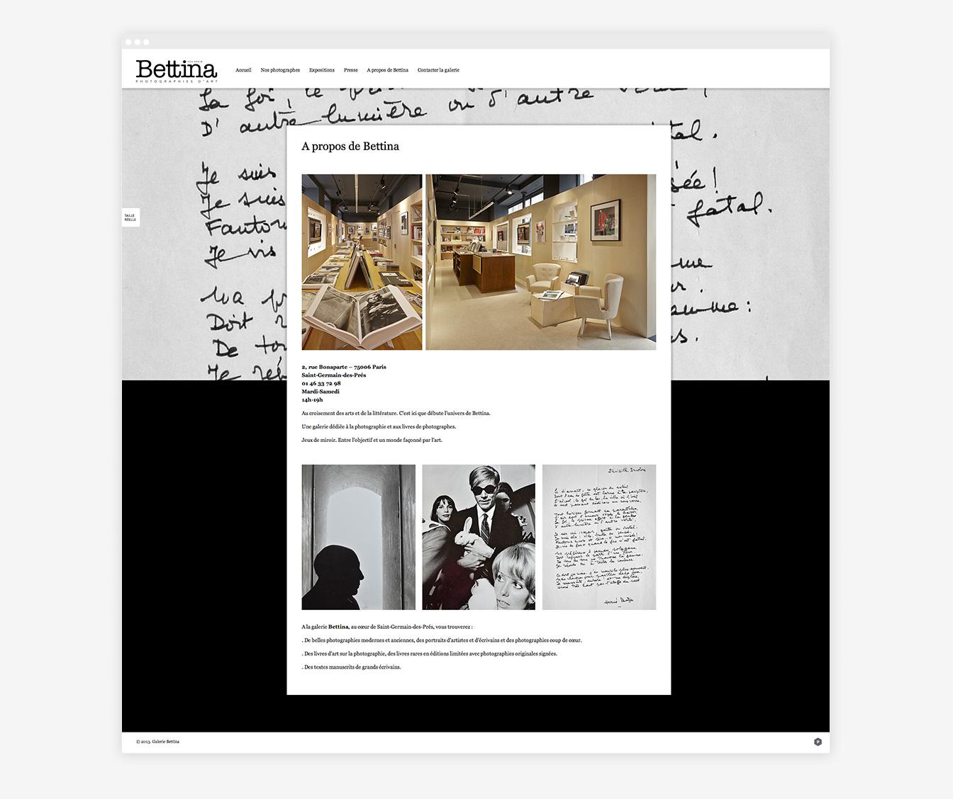 Galerie Bettina - Site Web Détails